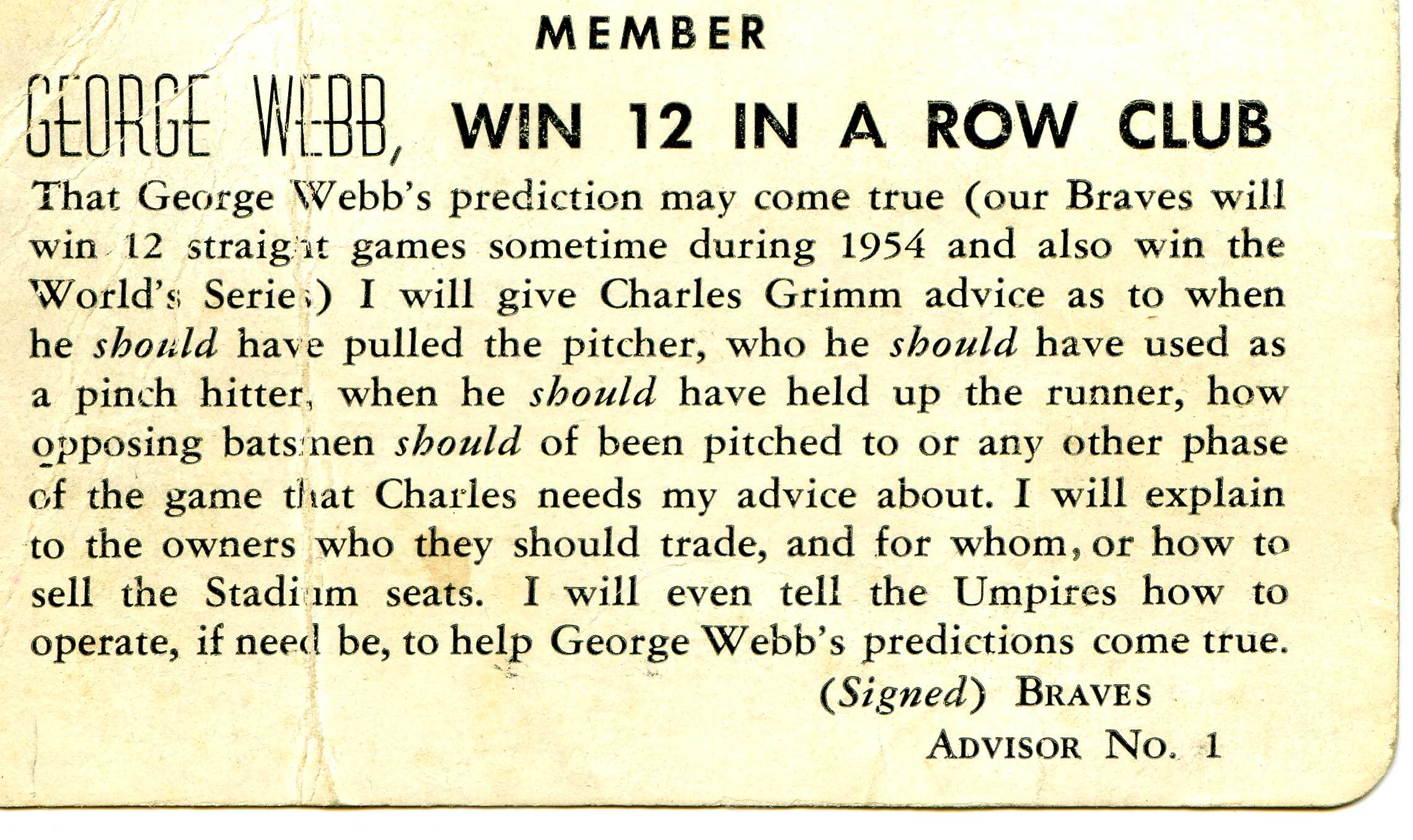 George Webb Club Card 1954.